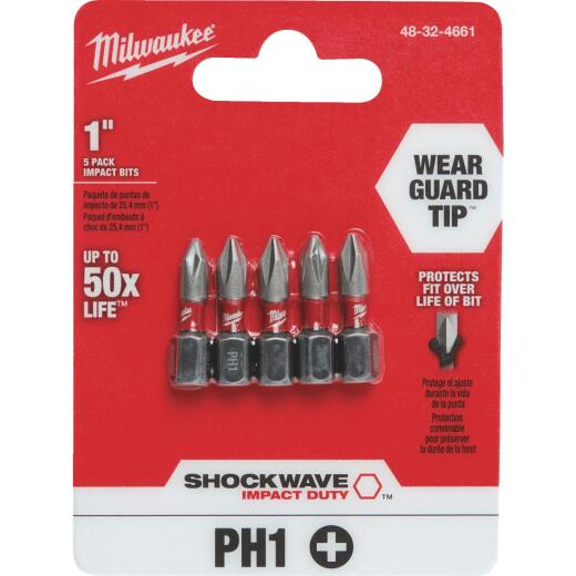 Milwaukee Shockwave #1 Phillips 1 In. Insert Impact Screwdriver Bit (5-Pack)