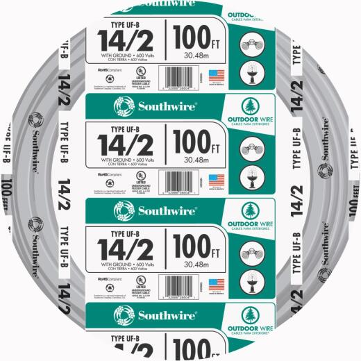 Southwire 100 Ft. 14 AWG 2-Conductor UFW/G Wire