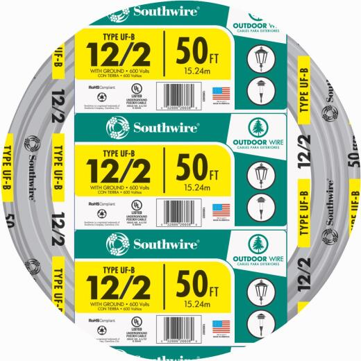 Southwire 50 Ft. 12 AWG 2-Conductor UFW/G Wire
