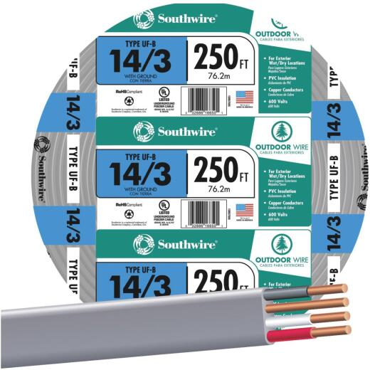 Southwire 250 Ft. 14 AWG 3-Conductor UFW/G Wire